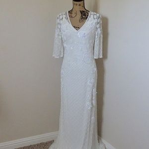 NWT Adriana Papell Floral Beaded Wedding Gown
